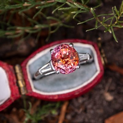 Padparadscha Sapphire engagement ring white gold