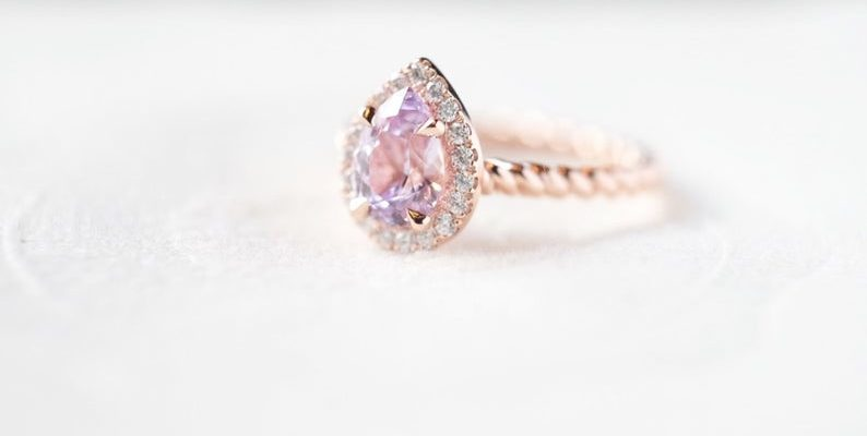 Peach sapphire engagement ring rose gold