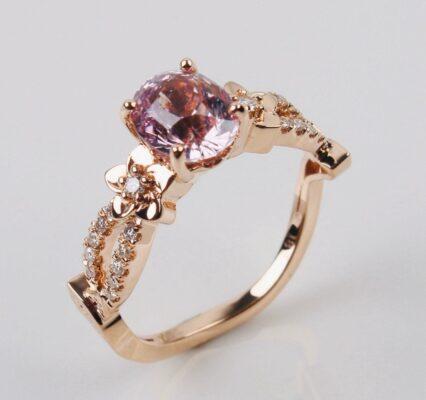 Custom Peach Sapphire Engagement Ring