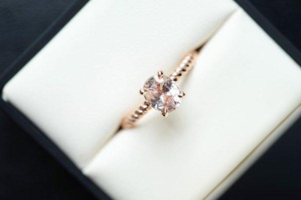 affordable peach sapphire ring
