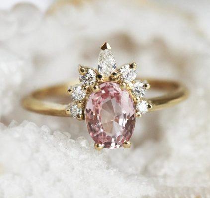 peach sapphire ring rose gold diamond