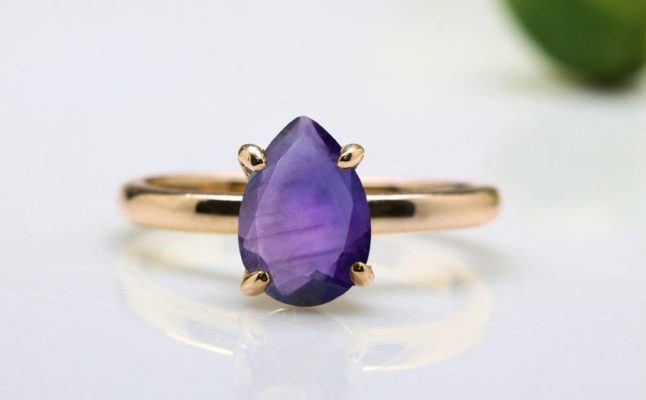 Amethyst ring,February birthstone ring