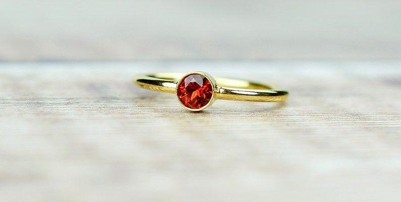 Garnet ring yellow gold January birthstone ring