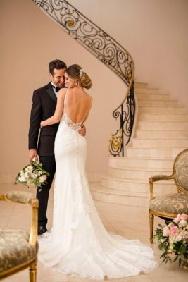 White open back wedding dress