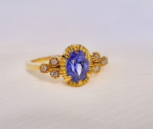 Natural Oval Blue Sapphire Ring