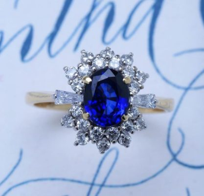 snowflake halo sapphire ring gold