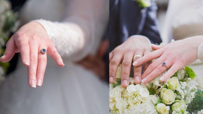Rose gold princess Diana engagement ring
