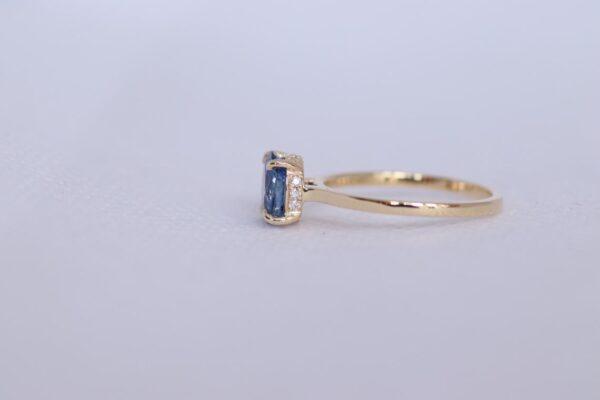 unique hidden halo blue sapphire ring