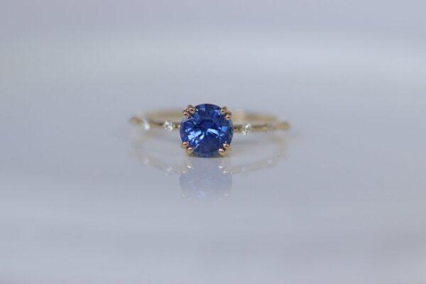 Petite Diamond Distance Blue Sapphire Ring