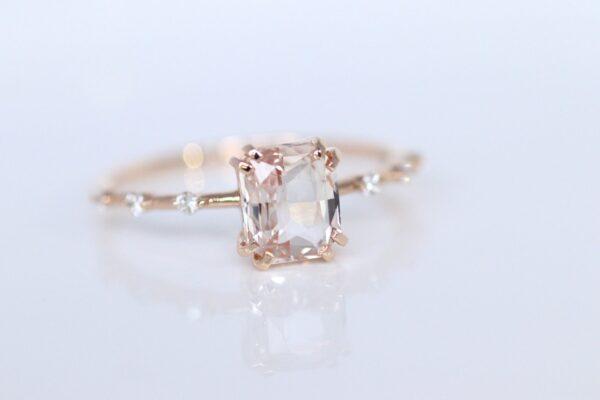 unique peach sapphire diamond engagement ring rose gold