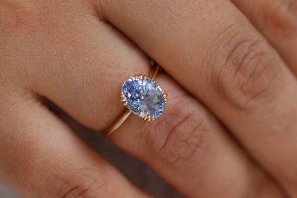 3 carat Ice blue sapphire engagement ring