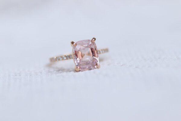 unheated 3.55 carat peach sapphire diamond engagement ring rose gold