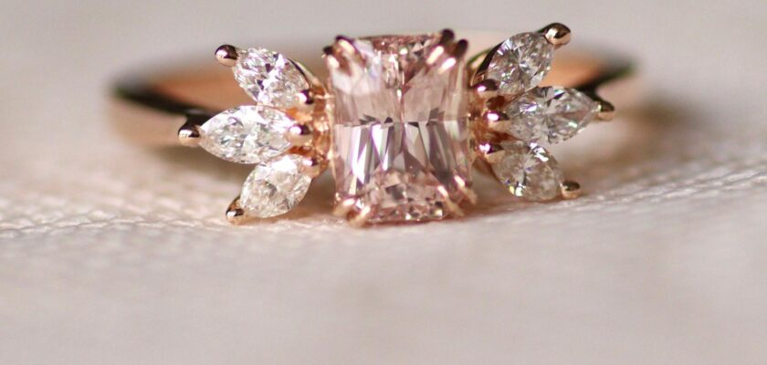 Unique Marquise cut diamond Cluster ring Rose gold ring
